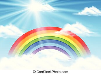 Colorful rainbow in blue sky