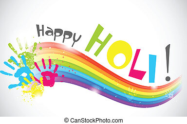 Colorful Rainbow in Holi Wallpaper