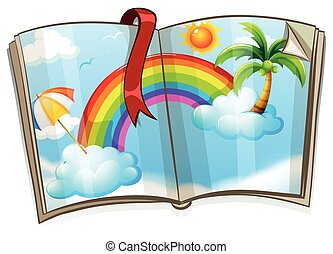 Colorful rainbow in the book