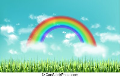 Colorful rainbow on sky background Vector realistic. Beautiful green meadow backgrounds