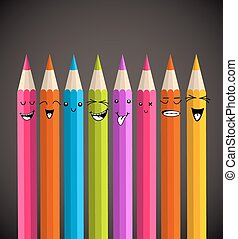 Colorful rainbow pencil, happy face cartoon. Vector illustration layered for easy manipulation and custom coloring.