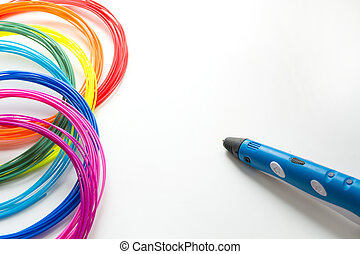Colorful rainbow plastic filaments with 3D pen laying on white. New toy for child. 3d paintings and figures with their own hands.