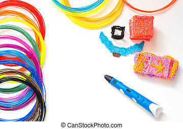 Colorful rainbow plastic filaments with for 3D pen laying on white. New toy for child. 3d paintings and figures with their own hands.