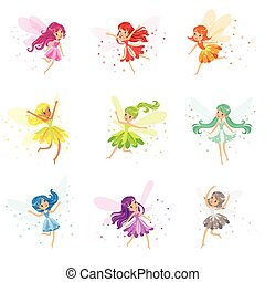 Colorful Rainbow Set Of Cute Girly Fairies With Winds And...