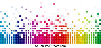 Colorful rainbow square mosaic with white copy space.