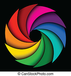 Colorful rainbow swirl on black background, Abstract color background
