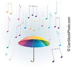 colorful rainbow umbrella with stylized like rain falling musical notes. abstract musical illustration
