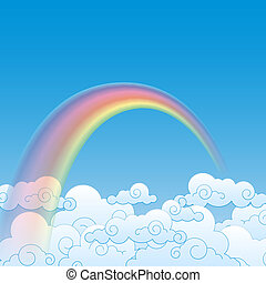Colorful Rainbow With Cloud, Vector Illustration