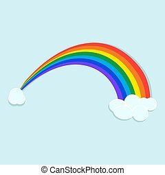 Colorful rainbow with clouds in the sky vector design