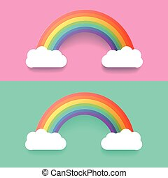 Colorful Rainbow With Clouds. Vector Illustration Set