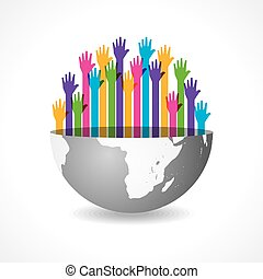 Colorful raised hand on the earth