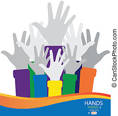 Colorful raised hands. Vector illustration.