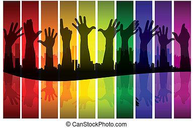 Colorful raising hands