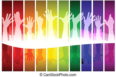 Colorful raising hands, vector