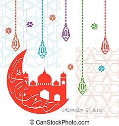 Colorful ramadan kareem greeting with mosque and lanterns