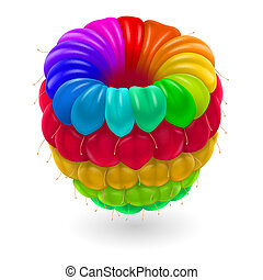 Colorful raspberry. - Raspberry in rainbow colors isolated ...