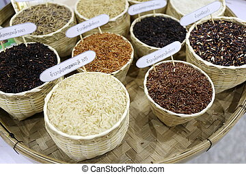colorful raw rice in basket