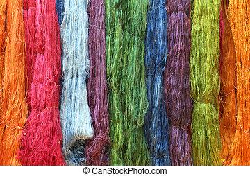 Colorful raw silk thread in the silk farm