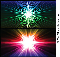 Colorful rays of light. Two vector background