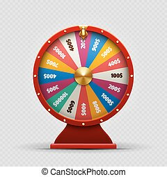 Colorful realistic casino fortune wheel on transparent background