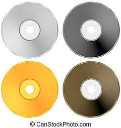 Colorful Realistic Compact  Discs Isolated