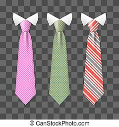 Colorful realistic neck ties set isolated on transparent background