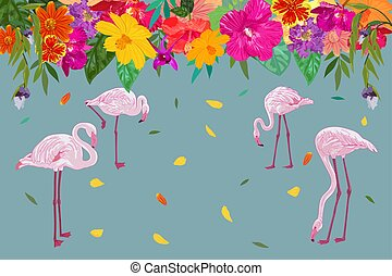 Colorful realistic tropical flower backdrop with floating petal and flamingos on blue background.