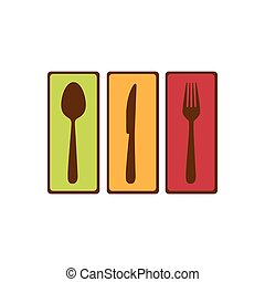 colorful rectangle banner frame with silhouettes cutlery kitchen elements