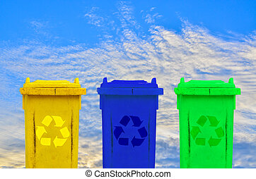 Colorful recycle bins ecology concept