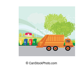 Colorful recycle bins ecology concept with landscape and garbage truck