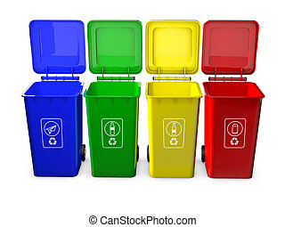 Colorful recycle bins isolated on w