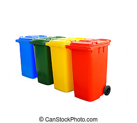 Colorful Recycle Bins Isolated - Red blue green and yellow...