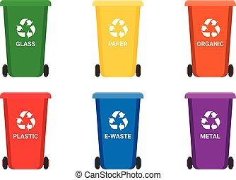 Colorful recycle trash bins isolated white, vector set. Big containers for recycling waste sorting - plastic, glass, metal, e-waste, organic, paper.