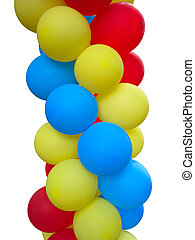 Colorful red blue yellow balloons isolated over white