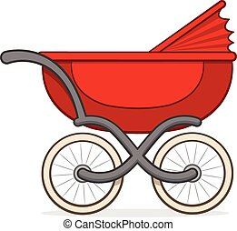 Colorful red buggy or baby carriage - Side view of a...