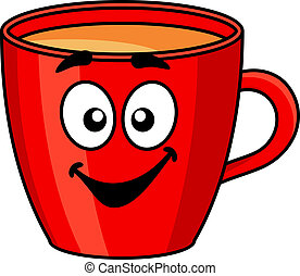 Colorful red cartoon mug of coffee with a happy smile isolated on white