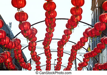 Colorful red Chinese lanterns hanging for Chinese New Year...