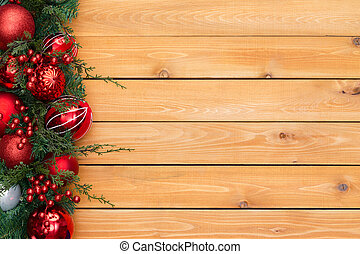 Colorful red Christmas garland border