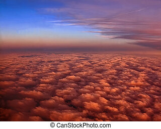 colorful red clouds and blue sky, sunset