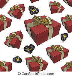 colorful red gift boxes and hearts with golden bows of ribbons flying on white background. seamless pattern. 3d illustration