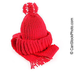 Colorful red knitted scarf and hat