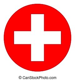 Colorful red medical cross symbol
