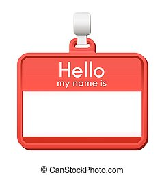 Colorful red name tag with blank copy space
