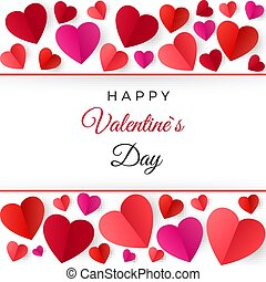 Colorful red paper hearts. Happy Valentines Day greeting Card. Vector illustration isolated on white