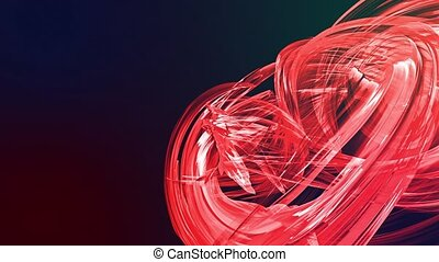 colorful red stripes twist in a circular formation, move in...