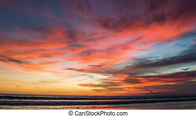Colorful red sunset at ocean