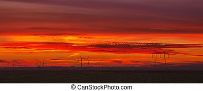 Colorful red sunset sky