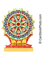 Colorful religious symbols isolated.