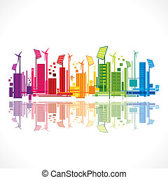 colorful ecology or renewable energy city background vector