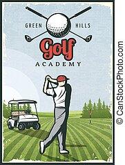 Colorful Retro Golf Poster